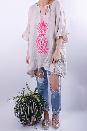 Pineapple Linen Oversized Tunic Oat
