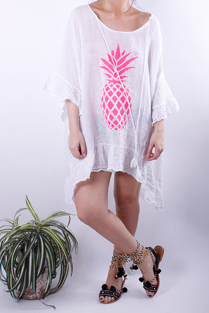 Pineapple Linen Oversized Tunic White