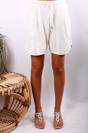 Pixie Paisley Sweat Shorts Vanilla