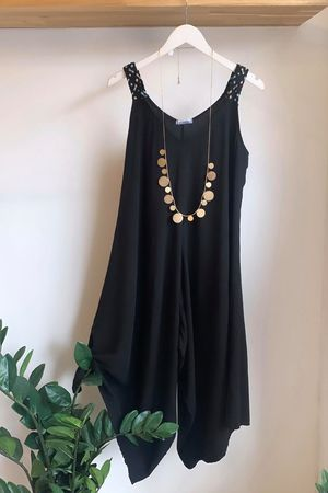 Plait Strap Jumpsuit Black
