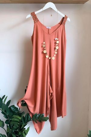 Plait Strap Jumpsuit Terracotta Rose