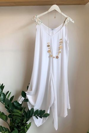 Plait Strap Jumpsuit White