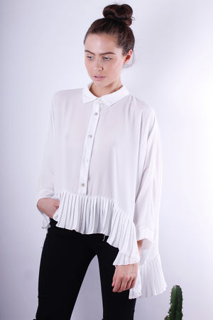 Pleat Bottom Oversized Shirt Off White