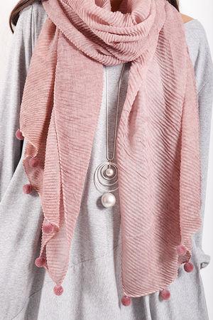Pleat Pom Pom Scarf Pink