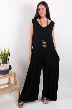 Savannah Pocketed Jumpsuit Black