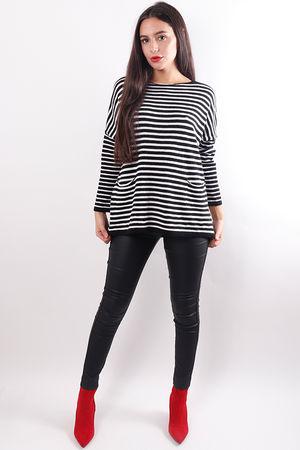 Pocketed Stripe Knit Black