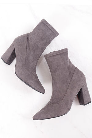 Pointed Sock Boot Grey