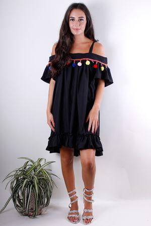 Pom Pom Cold Shoulder Dress Black