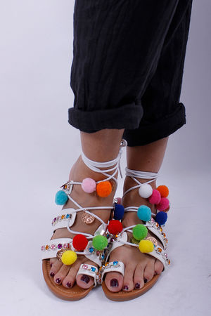 Pom Pom Jewel Lace Up Sandals