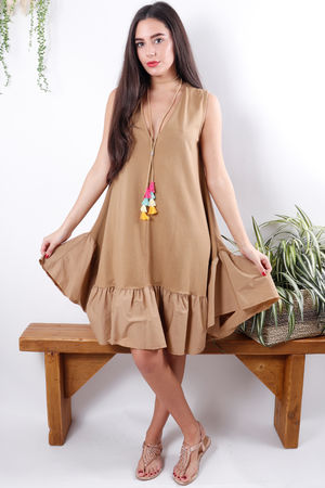 Poplin Frill Dress Tan