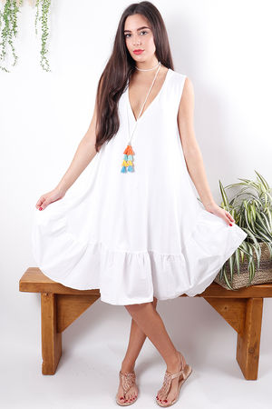 Poplin Frill Dress White