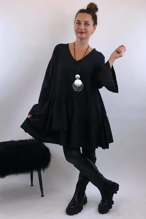 Poplin Layered Frill Tunic Black