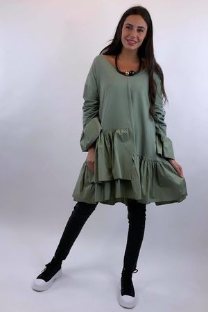 Poplin Layered Frill Tunic Khaki