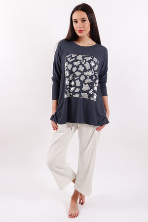 Postcard Animal Printed Top Charcoal