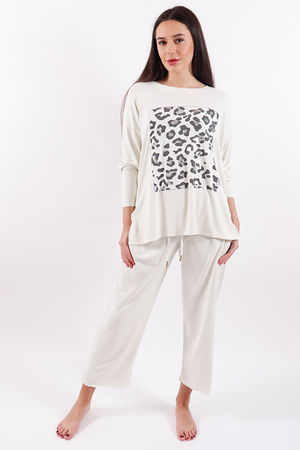 Postcard Animal Printed Top Coconut White