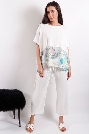 Postcard Belinda Plain & Printed Top Daisy White