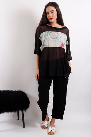 Postcard Beth Mesh & Printed Top Soft Black