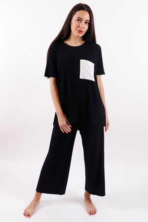 Postcard Patchey Tee Soft Black