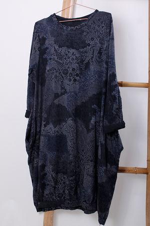 Print Cocoon Dress Black