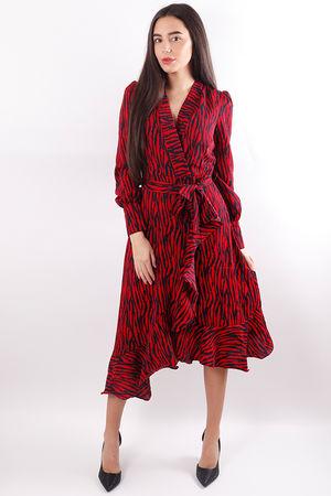 Print Midi Dress Red