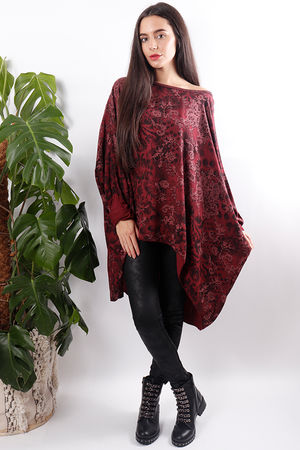 Print Oversized Top Mulberry