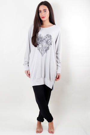 Printed Oversized Floral Heart Raglan Grey White
