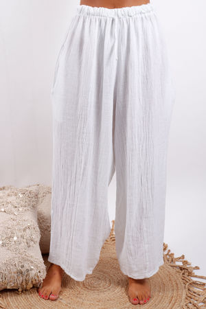 Provence Hopsac Linen Pant White