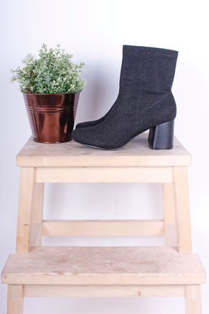 Pull On Lurex Ankle Boots Black