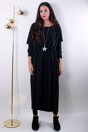 Pull String Double Layer Tunic Black