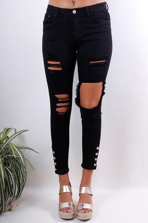 Queen Skinny Gold Button Hem Jeans Black