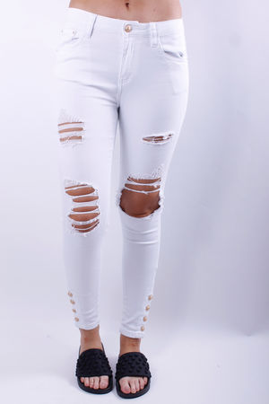 Queen Skinny Gold Button Hem Jeans White