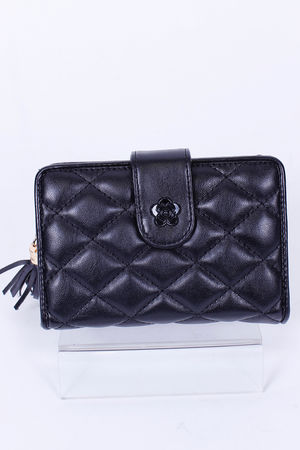 Quilted CoCo Fold Over Purse Noir