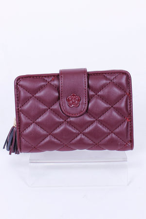Quilted CoCo Fold Over Purse Oxblood