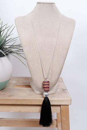 Rainbow Resin Tassel Necklace Black