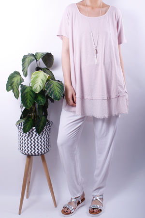 Raw Edge Oversized Swing Tee Rose Quartz