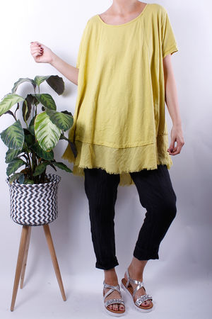 Raw Edge Oversized Swing Tee Sulphur