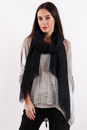 Raw Edge Scarf Black