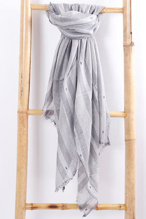 Raw Edge Stripe Scarf Grey