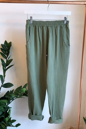 Relaxed Crinkle Muslin Pant Washed Khaki