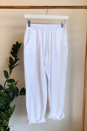 Relaxed Crinkle Muslin Pant White