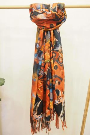 Reversible Impressionist Abstract Scarf Black Red