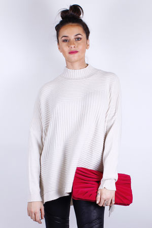 Ribbed High Neck Knit Cream