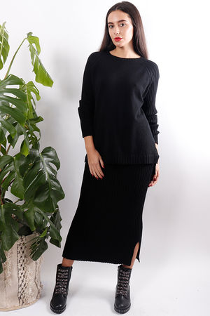 Ribbed Knit Suit Black
