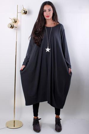 Ribbed Panel Pocket Cocoon Dress Grey