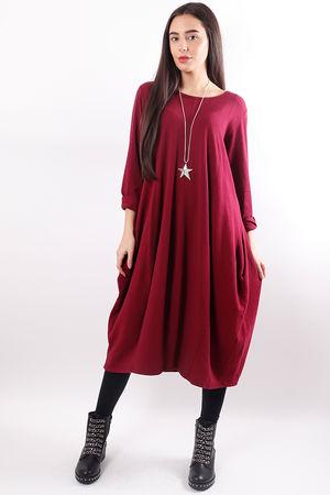 Ribby Cocoon Dress Burgundy