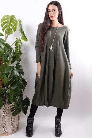 Ribby Cocoon Dress Khaki
