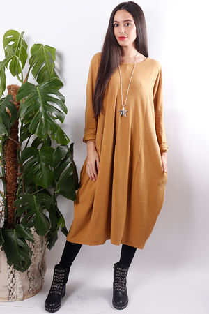 Ribby Cocoon Dress Mustard