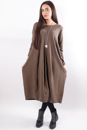 Ribby Cocoon Dress Taupe
