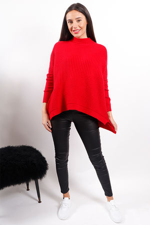 Made In Italy Ribby Turtle Knit Red