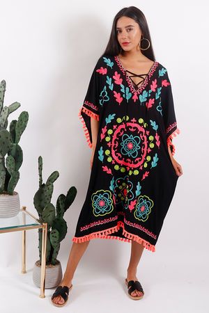 Rio Embroidered Kaftan Dress Black